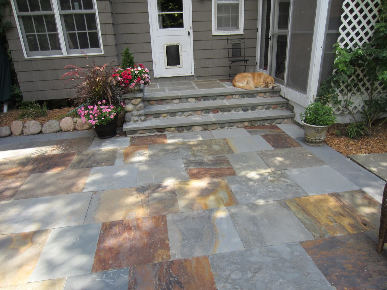 Flagstone Patio With Stone : Stone patio and step jeff timm