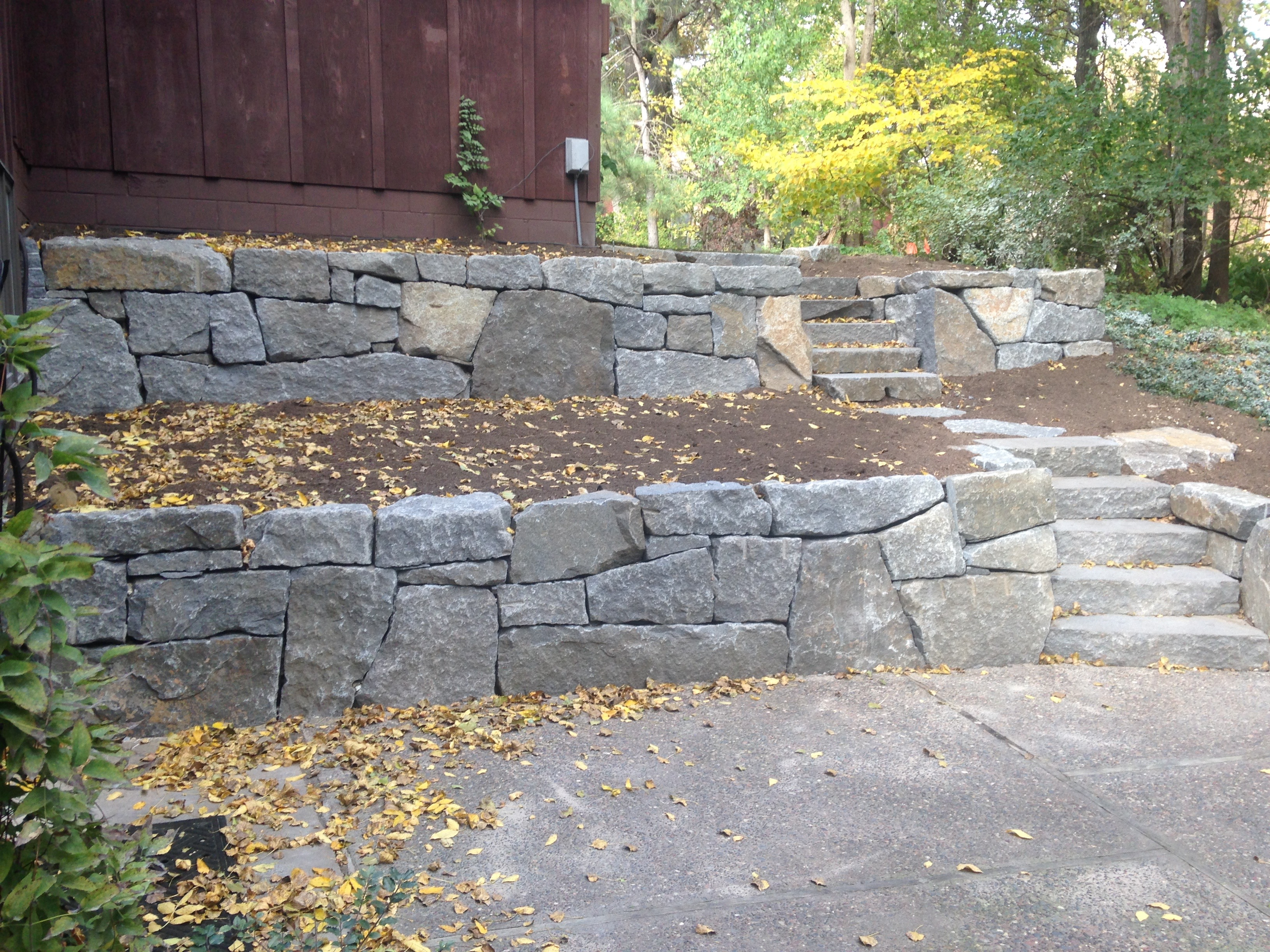 Granite Stone Foundation : Granite retaining wall and steps jeff timm